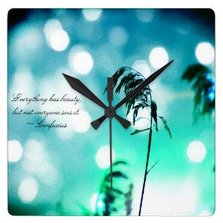 Turquoise Beach Grass Sparkle Wall Clock