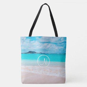 Beach Themed Turquoise beach photo custom monogram tote bag