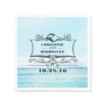 Beach Themed Turquoise Beach Wedding Napkin