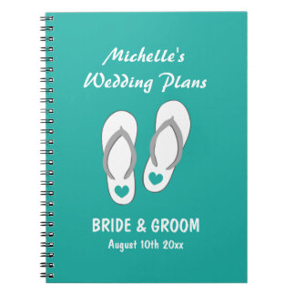 Turquoise beach wedding planner organizer notebook