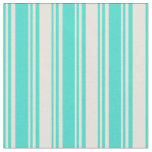 [ Thumbnail: Turquoise & Beige Colored Lines/Stripes Pattern Fabric ]