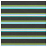 [ Thumbnail: Turquoise, Beige, Light Sky Blue, Green & Black Fabric ]