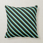 [ Thumbnail: Turquoise, Beige, Light Sky Blue, Green & Black Throw Pillow ]