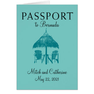 Turquoise Bermuda Passport Wedding Invitation
