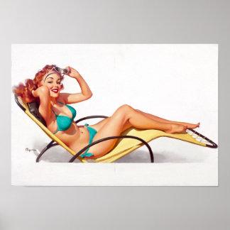 Turquoise Bikini Pin Up Print