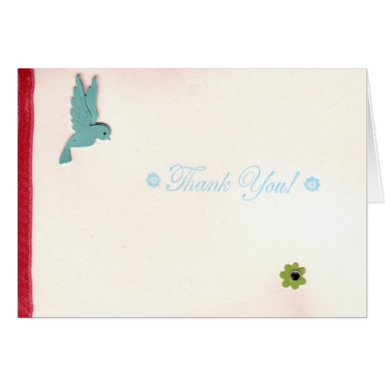 Turquoise Bird and Flower Thank You Card