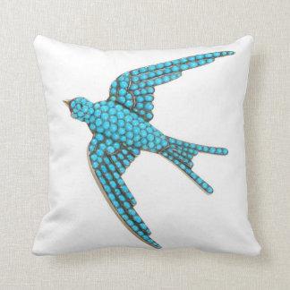 Turquoise Bird SOFA BLING Jewelry Throw Pillow
