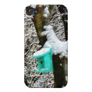 Turquoise Birdhouse in Winter Case For iPhone 4