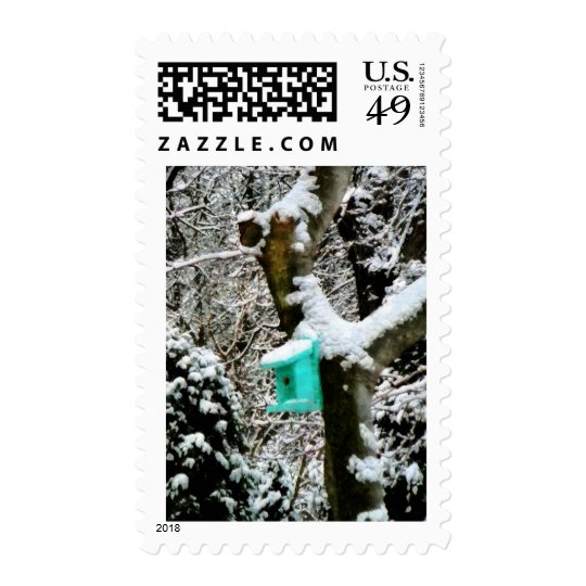 Turquoise Birdhouse in Winter Postage