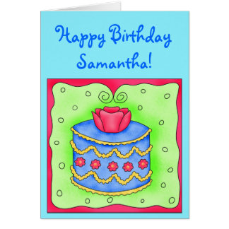 Turquoise Birthday Card with Blue Cake