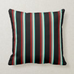 [ Thumbnail: Turquoise, Bisque, Dim Gray, Dark Red, and Black Throw Pillow ]