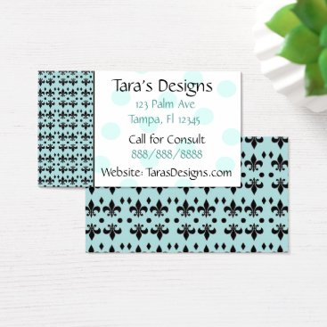 Professional Business Turquoise & Black Anchors Teal Dots Business Cards