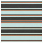 [ Thumbnail: Turquoise, Black, and Sienna Pattern of Stripes Fabric ]