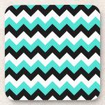Turquoise Black and White Chevron Beverage Coaster