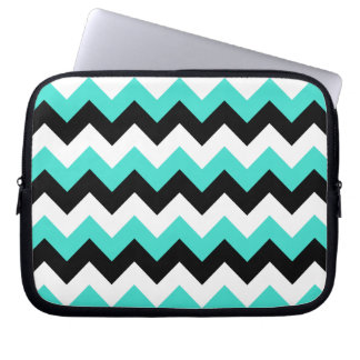 Turquoise Black and White Chevron Laptop Computer Sleeves
