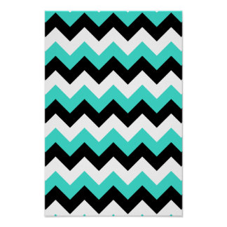 Turquoise Black and White Chevron Posters