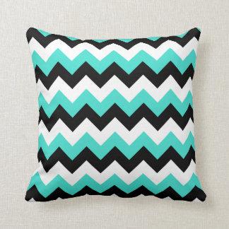 Turquoise Black and White Chevron Throw Pillow