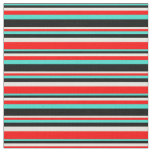 [ Thumbnail: Turquoise, Black, Beige, and Red Colored Stripes Fabric ]