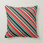 [ Thumbnail: Turquoise, Black, Beige, and Red Colored Stripes Throw Pillow ]
