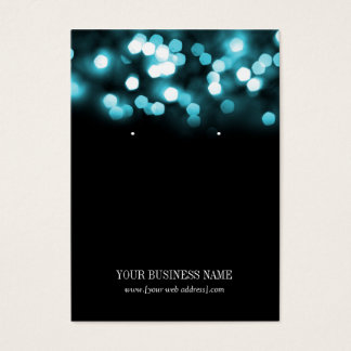 Turquoise Black Bokeh Lights Custom Earring Card