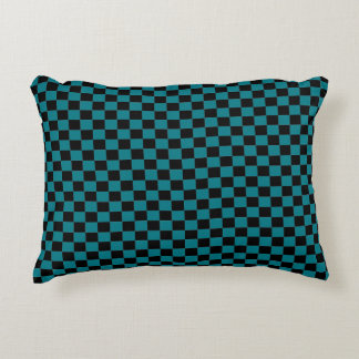 Turquoise & Black Checker Accent Pillow