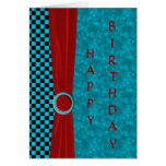Turquoise Black Checks & Red Happy Birthday Card