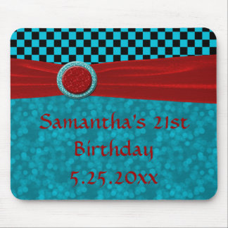 Turquoise Black Checks & Red PC Mouse Pad