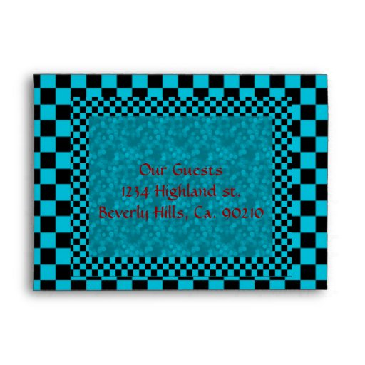 Turquoise Black Checks & Red Size A7 Envelope