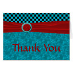 Turquoise Black Checks & Red Thank You Cards