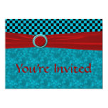Turquoise Black Checks & Red You're Invited Announcement