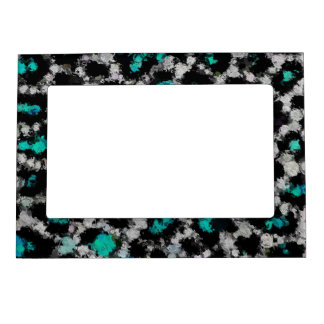 Turquoise Black Cheetah Abstract Magnetic Picture Frame