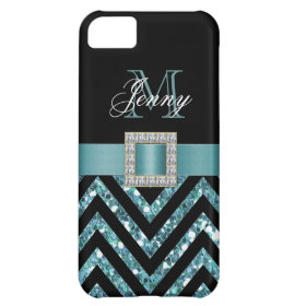 TURQUOISE BLACK CHEVRON GLITTER GIRLY CASE FOR iPhone 5C