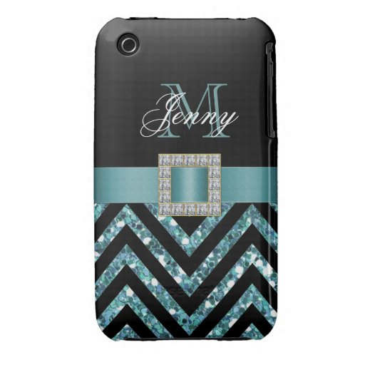 TURQUOISE BLACK CHEVRON GLITTER GIRLY iPhone 3 COVERS