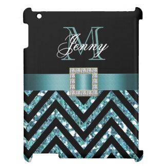 TURQUOISE BLACK CHEVRON GLITTER GIRLY iPad COVERS