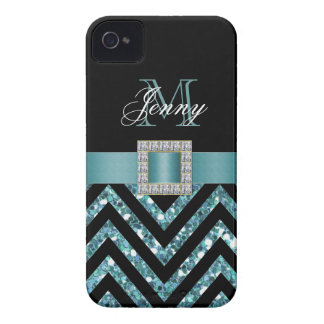 TURQUOISE BLACK CHEVRON GLITTER GIRLY iPhone 4 COVER