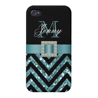 TURQUOISE BLACK CHEVRON GLITTER GIRLY COVER FOR iPhone 4