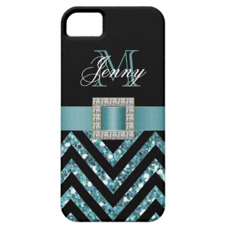 TURQUOISE BLACK CHEVRON GLITTER GIRLY iPhone SE/5/5s CASE
