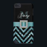 "TURQUOISE BLACK CHEVRON GLITTER GIRLY iPod TOUCH 5G COVER<br><div class=""desc"">This sophisticated, girly, monogrammed black and turquoise glitter chevron pattern, with a silk ribbon and diamonds is a photo PRINTED ON A FLAT SURFACE. Design by Elke Clarke&#169;2012. The design is made up of a zig zag chevron lines with glitter effect, a print of a turquoise blue satin ribbon with...</div>"