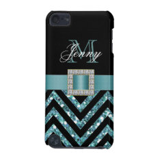 Turquoise Black Chevron Glitter Girly Ipod Touch 5g Cover at Zazzle