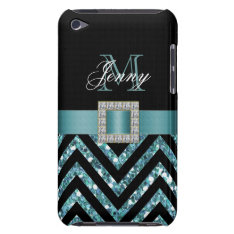 TURQUOISE BLACK CHEVRON GLITTER GIRLY iPod TOUCH CASE at Zazzle