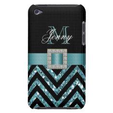 Turquoise Black Chevron Glitter Girly Ipod Touch Case at Zazzle