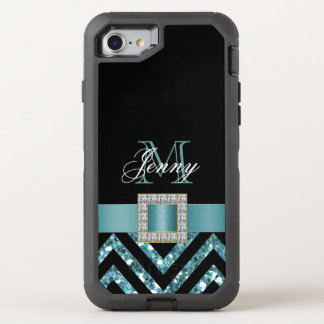 TURQUOISE BLACK CHEVRON GLITTER GIRLY OtterBox DEFENDER iPhone 7 CASE