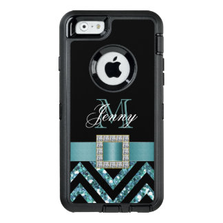 TURQUOISE BLACK CHEVRON GLITTER GIRLY OtterBox DEFENDER iPhone CASE