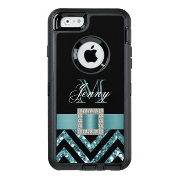 Turquoise Black Chevron Glitter Girly Otterbox Defender Iphone Case by monogramgallery at Zazzle