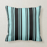 [ Thumbnail: Turquoise & Black Colored Lined/Striped Pattern Throw Pillow ]