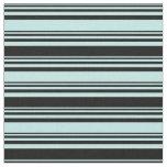 [ Thumbnail: Turquoise & Black Colored Stripes Pattern Fabric ]