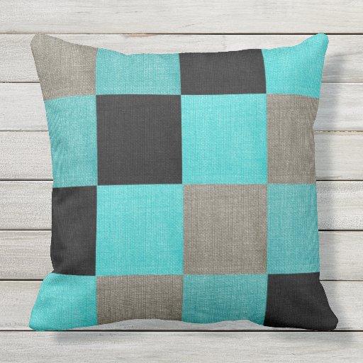 Turquoise & Black Colour Outdoor Throw Pillow Zazzle