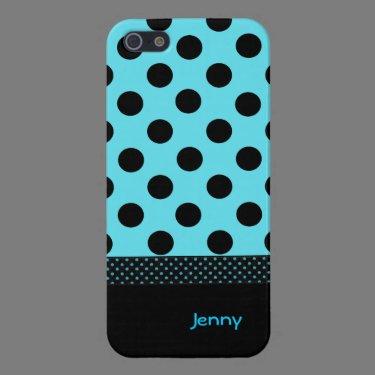 Turquoise & Black Custom Polka Dot iPhone 5 Case