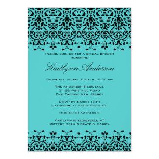 Turquoise & Black Damask Bridal Shower Invitation