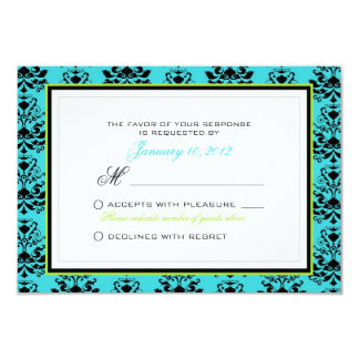 Turquoise & Black Damask Green Accent Custom RSVP Card